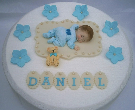 First Birthday Cake Decorating Ideas Boy : Edible baby boys Christening / 1st birthday cake topper. Boys