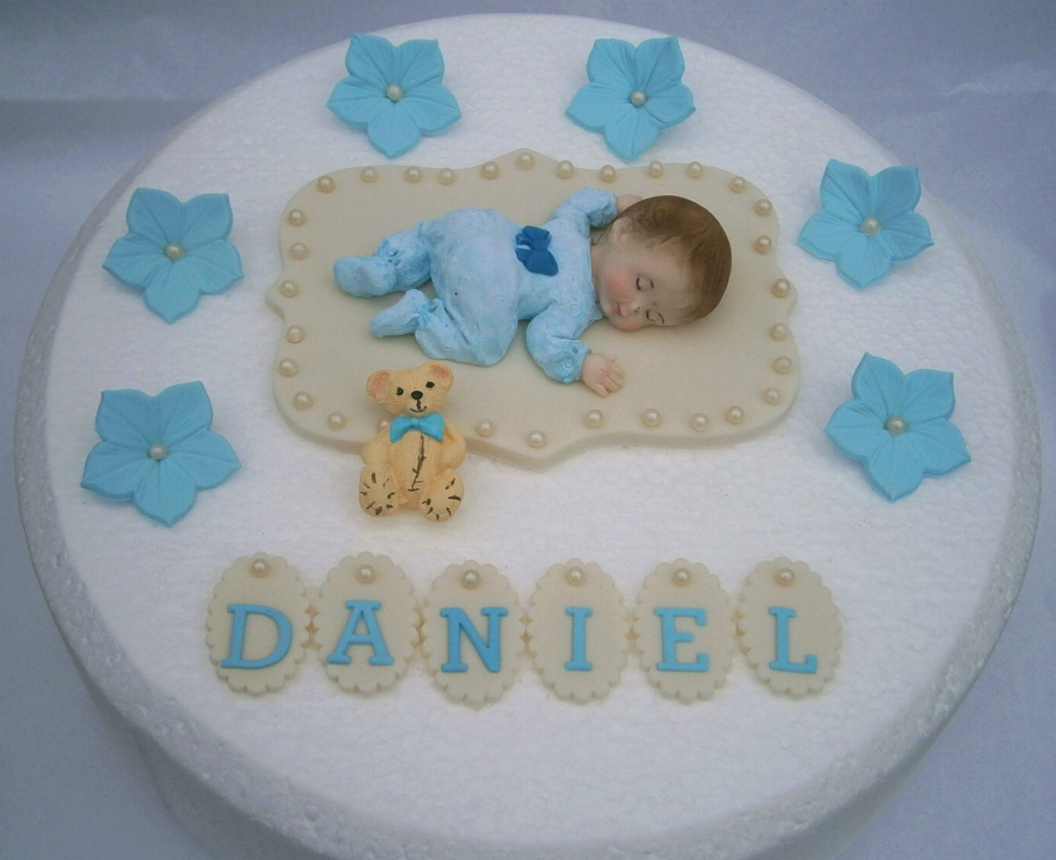 Edible baby boys christening 1st birthday cake topper boys for 1st birthday cake decoration ideas