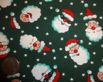 Santa Heads and Stars on Christmas XMAS Green Cotton Quilting JoAnn fabric BTY by the yard