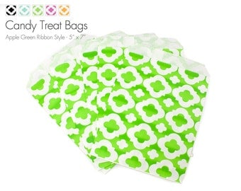 """25 Apple Green Ribbon Style Candy Treat Bags - 5"""" x 7"""""""