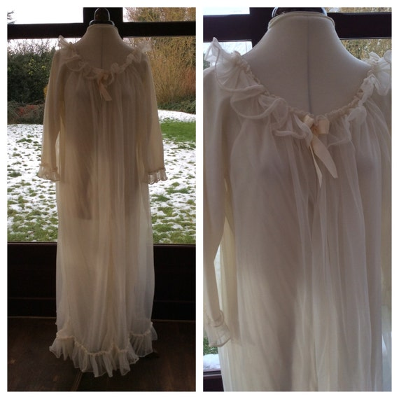 House Coat: Vintage Ivory Sheer Nylon Long House Coat Dressing Gown By