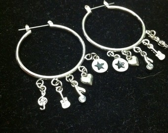 Clearance *** Silver Hoop Earring with Charms