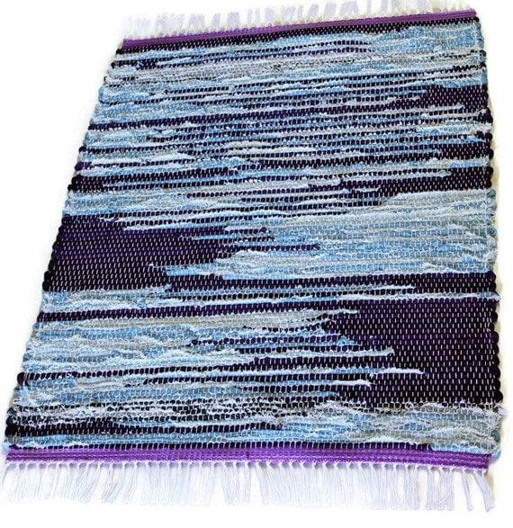 Denim Rag Rug Purple 22x32 Loom Woven Cotton Kitchen By