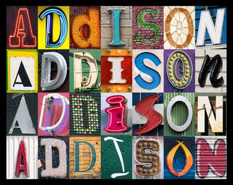 Personalized Poster featuring ADDISON showcased in photos of letters from signs; Typography print; Wall decor; Custom wall art; Name poster