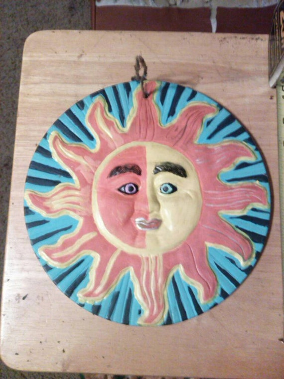 Painted sun wall decoration
