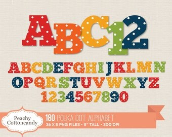 BUY 2 GET 1 FREE 180 Digital Polka Dot Alphabet Clip Art / Polka Dots Alphabet Clipart / digital alphabet - commercial use ok