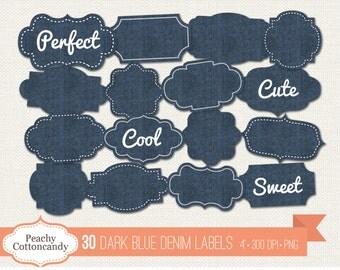 BUY 2 GET 1 FREE 30 Digital Dark Blue Denim Labels - denim labels clip art - jeans label clipart - Commercial Use Ok