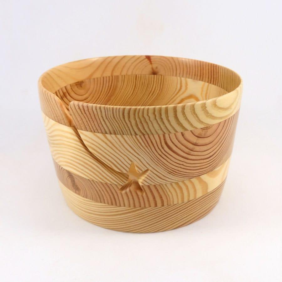 Knitting Bowls Wood : Handmade wood yarn bowl large star groove for knitting or