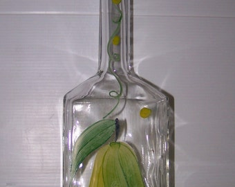 Hand Painted Pear Fruit Glass Vase Home Kitchen Decor