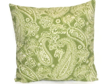 Christmas pillow cover, Holiday pillow cover, Decorative throw  pillow, Green paisley  pillow cover, green pillow cover