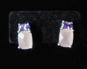 Amethyst & Rose Quartz Pierced Earrings with Posts in Sterling