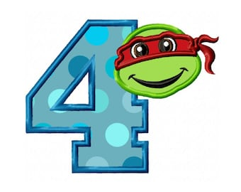 4th Birthday Turtle...Instant Download...Applique Machine Embroidery DESIGN NO. 19