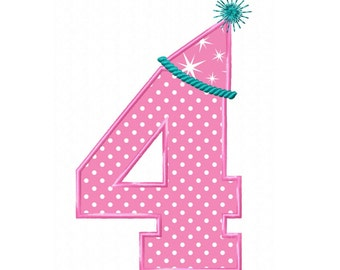 Birthday Hat No. 4  Applique Machine Embroidery DESIGN NO. 111