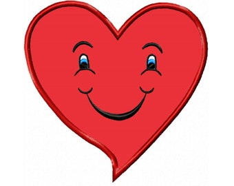 Smiley Heart  Applique Machine Embroidery DESIGN NO. 388