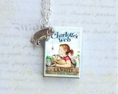 Charlotte's Web with Little Pig Charm - Miniature Book Necklace