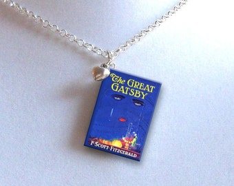 The Great Gatsby with Tiny Heart Charm - Miniature Book Necklace