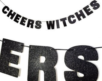CHEERS WITCHES Glitter Banner Wall Decor Sign - Sparkly Black - Spooky Party Decoration