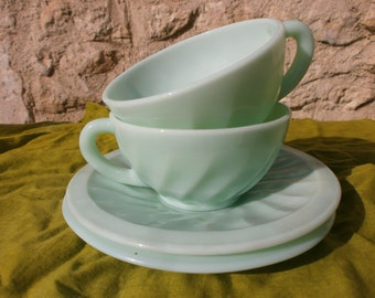 Pair of French Vintage Art  Deco cups and saucers, green opaque milk glass, tea, coffee, set, France, antique. 3 pairs available.
