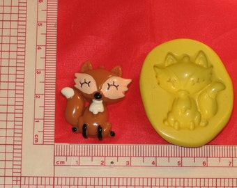 Fox Wolf Flexible Silicone 2D Push Mold Polymer Clay Plaster 434 Resin Miniature