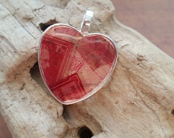Vintage Postage Stamp Necklace, Heart Resin Pendant with Red Postage Stamps
