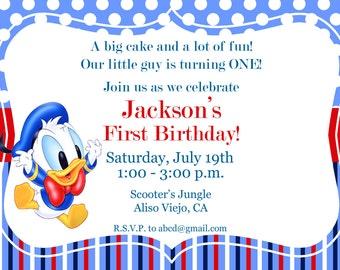 Donald Duck Invitation, 1st birthday invitation, Kid's Birthday Party Invite Birthday Invitation
