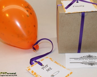 Will you be my Bridesmaid, personalized message inside balloon in gift box garnished in your wedding colors