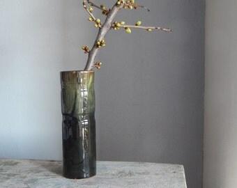 Black/ Green Ceramic Vase Made in USSR Russian Design Black Glaze