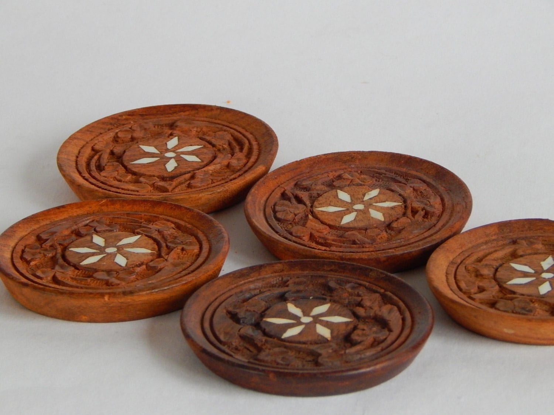 Vintage Wooden Coaster Set of 5 Trivet Tea Glass Holder Retro Home ...