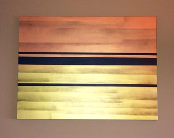 "Original Acrylic Abstract Painting on Gallery Canvas Titled:Vertical Shimmer ""30x40x1.5"" by KMH Art Gallery"