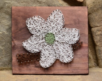 Dogwood Flower - String Art - Rustic Home Decor - Nature Art - Country Home Decor - Farmhouse Decor - Southern Decor - Wood Wall Art