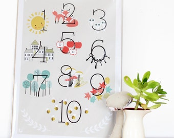 Learn to count 1-10 - Art poster - educational poster - woodland decor - home decor - nursery decor