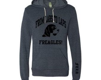 Unisex Beagle Freedom FTLA Apparel - From Labs to Laps FREAGLES!  - Eco True Navy Unisex Pullover Sweatshirt