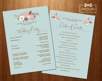 Mint Floral Wedding Program Printable - Wedding Party Names and Order of Events Printable Set, Wedding Schedule