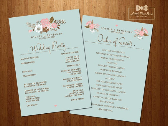 Mint Floral Wedding Program Printable Wedding Party Names