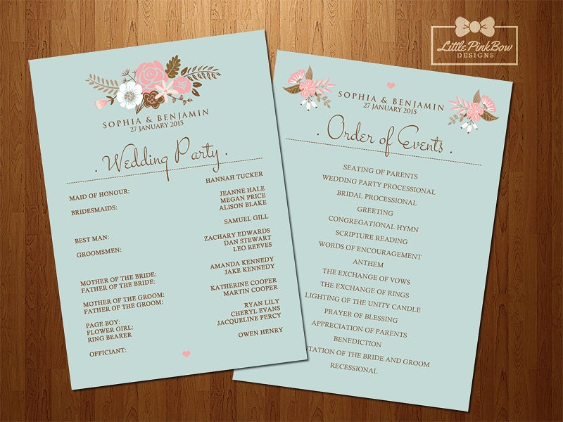 mint floral wedding program printable wedding party names and order of events printable set