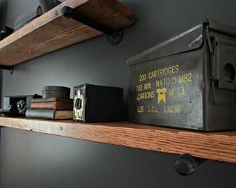 "Floating Shelve, 8"" Deep Industrial Shelf, Rustic Pipe Shelf, Industrial Wood Shelf, Wood Wall Ledge, Industrial Floating Shelves"