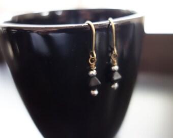 Black and Silver Beaded Dangle Earrings