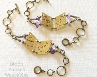 Set of Song of Solomon bracelets with amethyst accent in bronze