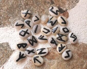 Sea pebble runes, small rune set, divination rune, rune casting, Elder Futhark runes, rune box, Nordic tradition, Heathenry, Asatru paganism