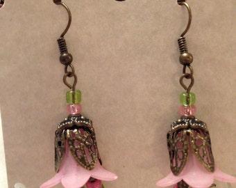 Earring Flower Lucite Dangle Handmade