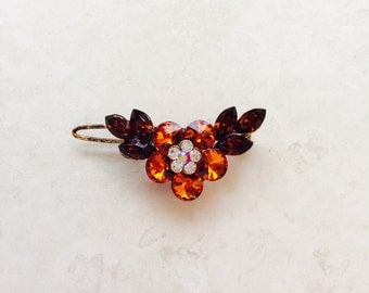 High Quality Bronze Topaz Brown Crystal Rhinestone Hair Clip Flower