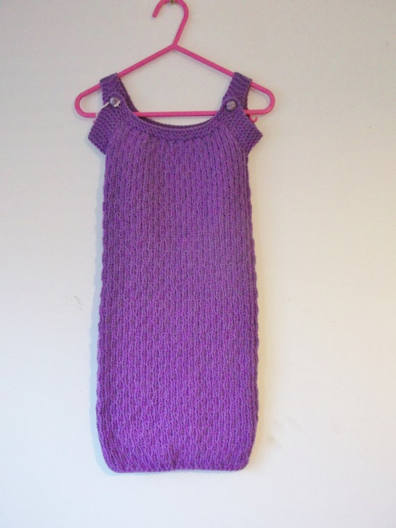 Knitting Pattern For Baby Grow Bag : Purple Hand Knitted Baby Sleeping Bag 0 3 months Soft Baby