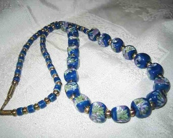 Vintage Periwinkle Blue Glass Floral Beaded Necklace from the 60s