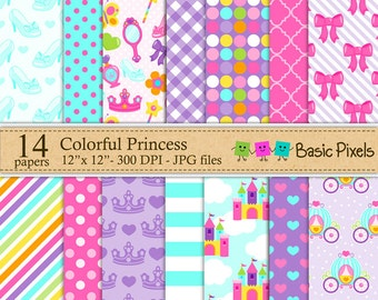 Colorful Princess Digital Paper - Backgrounds - Personal and commercial use