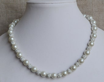 ivory pearl necklaces,,10mm glass pearls necklaces,wedding  necklace,bridesmaids necklace,rhinestone  necklace,pearl necklace