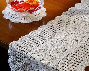 OROSHI TABLE RUNNER- Handmade Crochet Table Runner with Scallop design