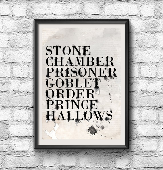 Harry Potter Poster - Harry Potter Inspired Movie Title Water Color Typography Poster - Black & White