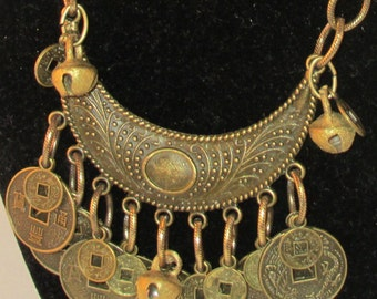 Brass Crescent Moon Necklace with Coins and Bells