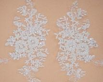 Lace AppliqueTrim, Wedding Lace Applique, Bridal lace Applique, Beaded Wedding Accessory, Floral Lace Applique, Alencon Lace Applique, 2pcs