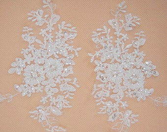 Lace AppliqueTrim, Wedding Lace Applique, Bridal lace Applique, Beaded Wedding Accessory, Floral Lace Applique, Alencon Lace Applique, 2pcs